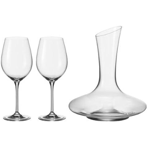 Leonardo Barcelona - Juego de copas y decantador de vino, 3 piezas, transparente