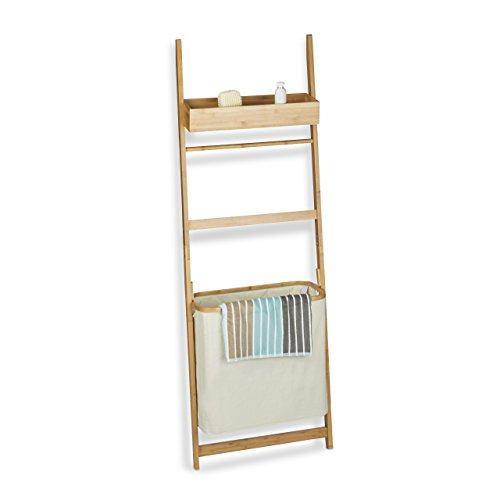 Relaxdays Leiterregal aus Bambus, Badregal mit 85 L Wäschebeutel, Handtuchhalter und Ablage, HxBxT: 180x61x29 cm, natur