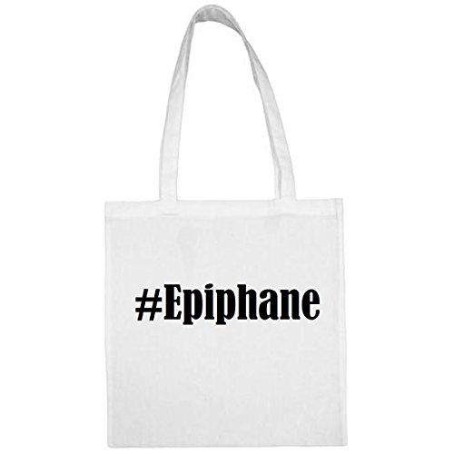 Tasche#Epiphane Größe 38x42 Farbe Weiss Druck Schwarz