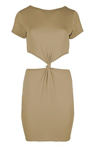 Womens Knoten Front Rücken Enganliegendes Kleid Damen Flügelärmel ...