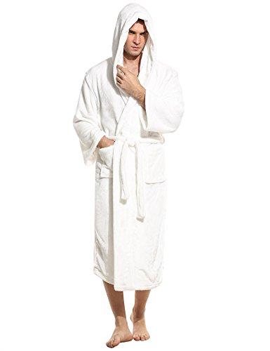 HOTOUCH Herren Bademantel Hooded Morgenmantel Saunamantel Soft Fleece  Nachtwäsche Lange Robe Mit Kapuze Typ1-Weiß ...