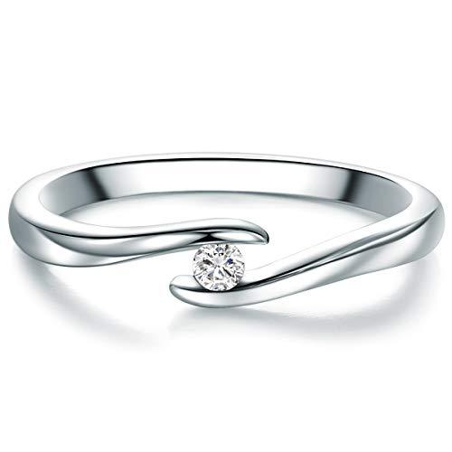 Tresor 1934 Bague tension Argent fin 925 / 1000 Diamant blanc taille brillant 0,05 Carat - Bague de fiançailles Bague en diamant Solitaire Bague de fiançailles Brillant