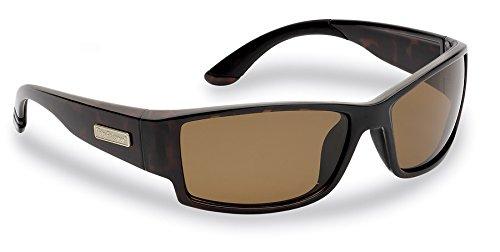 Flying Fisherman Razor Polarized Sunglasses, Dark Tortoise Frame, Amber Lenses by