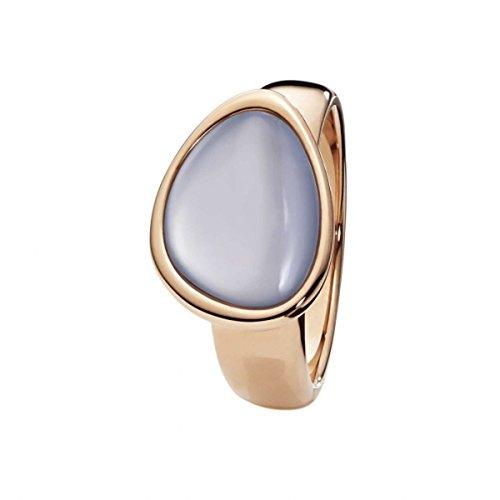 Xen Damen-Ring Edelstahl teilvergoldet Chalcedon blau Gr. 52 (16.6) - 011742G52