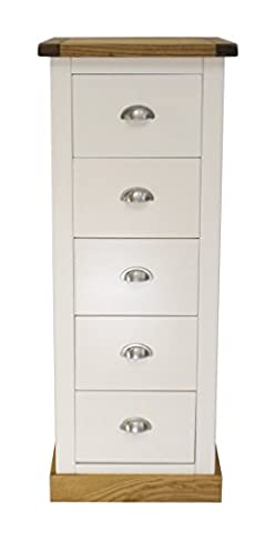 Cabinet Bits 5-Drawer Narrow Chest with Chrome Handle/Square Skirt, Wood, White
