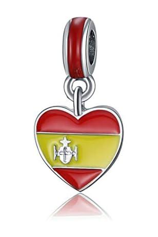 GoT Abalorio Bandera de España - Compatible con Pandora - Colgante en Forma de Corazón - para Pulsera de Mujer - Incluye Bolsita de Regalo de Tela…: Amazon.es: Joyería