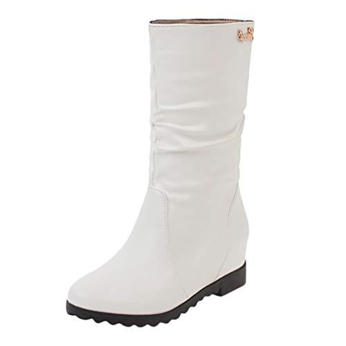 FeiBeauty 2019 Damen Stiefeletten Leder Warme Kniehohe Stiefel Flacher rutschfest Schneeschuhe Schwarz, braun, weiß Gr.35-43 - Warm Schwarze Stiefel Kniehohe Wildleder