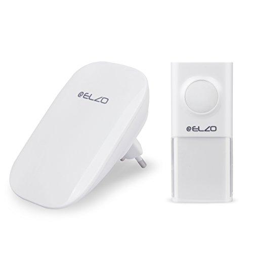 Preisvergleich Produktbild Elzo [Batterielosem & 150m Reichweite] E371 Drahtlose Türklingel, Glockenspiel, durch kinetische Energie betriebenen Sender. IP55 zertifizierter, wasserfester Klingelknopf. Empfänger - 25 musikalischen Tönen (Weiß)