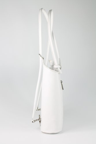 BELLI ital. Leder Handtasche Belli Backpack Damen Rucksack Leder - Farbauswahl - aus feinstem Leder - 28x28x8 cm (B x H x T) Weiß
