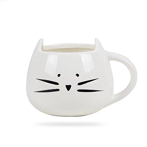 Taza de Cerámica, en Forma de Gato, para Té / Café / Leche / Agua / Desayuno, etc. Regalo para Navidada, Cumpleaños (Blanco)