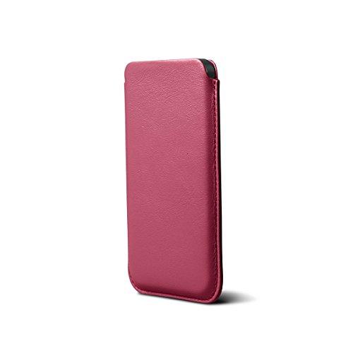 Lucrin - Housse iPhone 5/5S/SE Classique - Vert - Cuir Lisse Fuchsia
