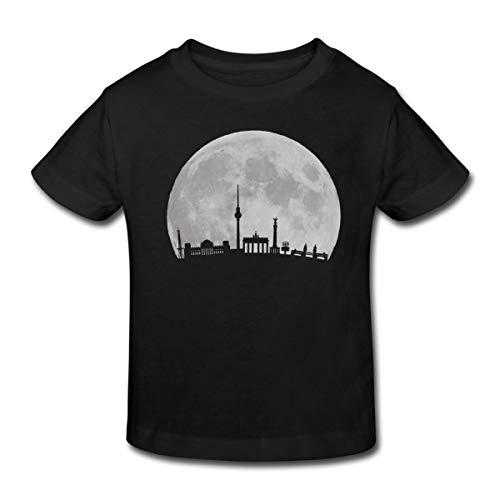 Vollmond-kinder T-shirt (Spreadshirt Vollmond über Berlin Kinder Bio-T-Shirt, 134/140 (9-10 Jahre), Schwarz)