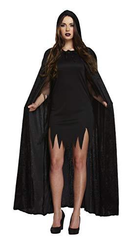 Henbrant Long Velvet Cape/Cloak with Hood Adults Halloween Fancy Dress Costume-Black