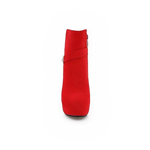 VogueZone009 Donna Bassa Altezza Chiodato Cerniera Punta Tonda Tacco Alto Stivali Rosso
