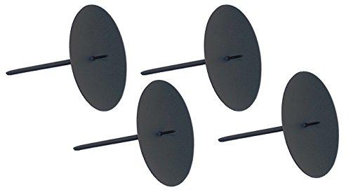 ARTECSIS 4 Kerzenhalter für Adventskranz Kerzenteller Adventskerzenhalter schwarz Durchmesser 10cm