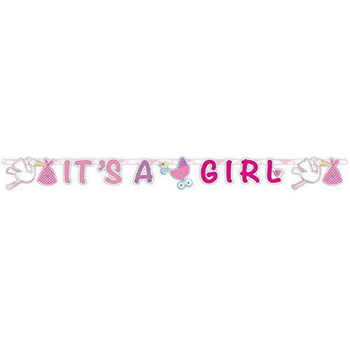 Girlande * IT'S A GIRL * für eine Pinkelparty zur Geburt von einem Mädchen // Party Banner Motto Nachwuchs Eltern Storch blau Kind Kinder Geburtstag Baby Girl (Mädchen-banner)