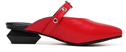 Calaier Femme Caonline 9.5CM Bloc Glisser Sur Mules et sabots Chaussures Rouge