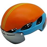 XDXDWEWERT Bicicleta Cascos de Ciclismo para Bicicleta con Gafas Desmontables Casco de Bicicleta Ajustable para Adultos (Azul + Naranja)