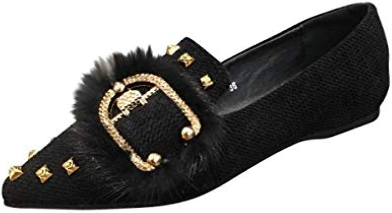 HBDLH Scarpe da Donna A Fondo Piatto Ha Sottolineato alla Moda Femminile Slim Piazza Pulsante Sola Scarpa nero 35 | Vendita Calda  | Uomo/Donne Scarpa