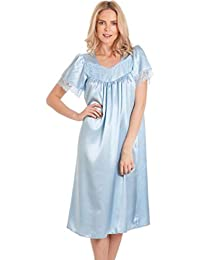 5e2ae2074d8a2 Ladies Satin Short Sleeve Nightdress Long Nightie Pink Blue Ivory Plus Size  10 12 14 16