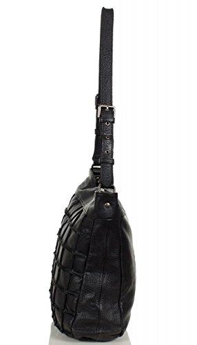 FREDsBRUDER Waffeltüte Umhängetasche Leder 32 cm Black