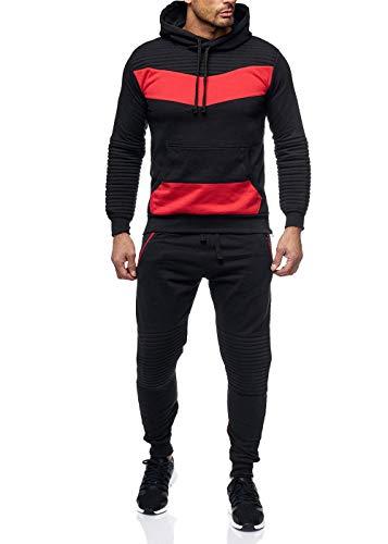 Violento Herren Jogginganzug Jogging Zip Hoodie Hose Stripe Sportanzug Fitness Schwarz/Rot M -