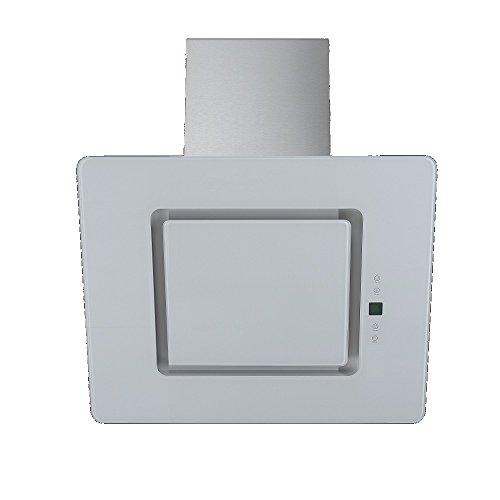 Design Qualität Kopffreie Dunstabzugshaube schräg Haube diagonal Wandhaube VLANO FREYA 600 WHITE / 60 cm / Glas Design / Touch Control / ECO LED / 50 dB / Extra leiser Motor / weiß / INKL Rückschlagventil / INKL Abluftrohr (ca 2m )