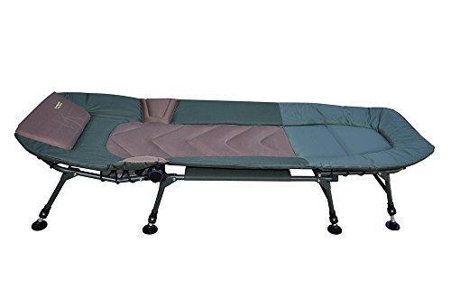MK-Angelsport 8-Bein Karpfenliege - Deluxe Bedchair bis 150 kg belastbar - Bequeme und breite Angelliege mit Kopfteil - stufenlos verstellbare Füße