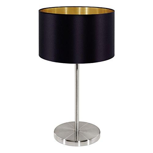 EGLO Tischleuchte, Stahl, E27, Nickel-matt/Schwarz/Gold, 23 x 23 x 42 cm - 1 Raum Schwarz Stahl