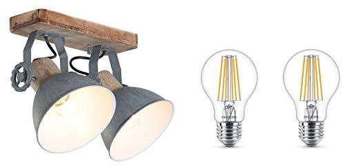 STEINHAUER 7969GR Deckenlampe Vintage Industrie Lampe Wandleuchte 2 flammig in grau,Edison Retro 7W LED !