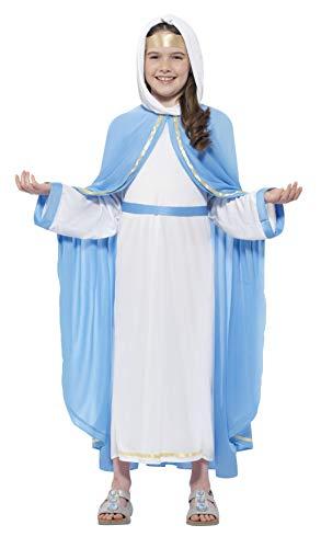 Smiffys 21067S - Kinder Mädchen Mutter Maria Kostüm, Alter: 4-6 Jahre, Größe: S, blau/weiß (Mutter Maria Halloween Kostüm)