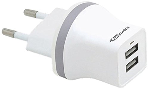 Portronics 2.1A Dual USB Charger (White)