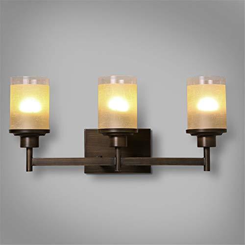 Eisen-drei-licht-eitelkeit (BOOTU LED Wandleuchte nach oben und unten Wandleuchten Rustikale Eisen drei TV-Wandleuchten Wandleuchten treppen Wohnzimmer Spiegel vor Licht Eitelkeit Wandleuchte)