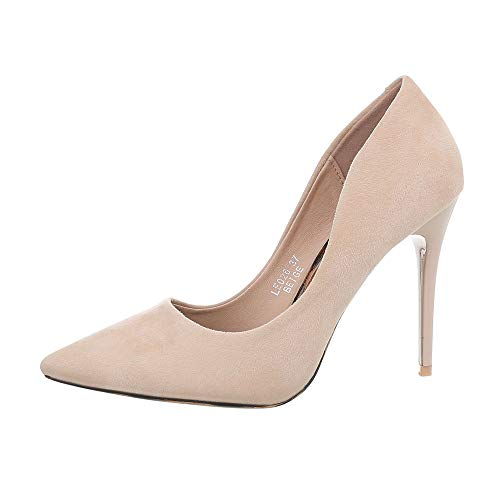 Ital-Design Damenschuhe Pumps High Heel Pumps Synthetik Beige Gr. 35