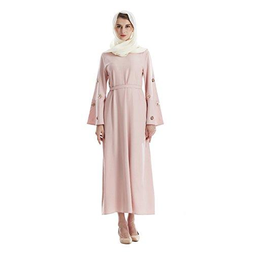 Hougood Abaya Muslim Damen Muslimische Kleider Islamische Kleidung Trompete Ärmel Maxi Kleid Islamischen Kleid Dubai Kaftan Roben Morgenmantel Frauen Party Anlass Kleid Vintage Cocktailkleid