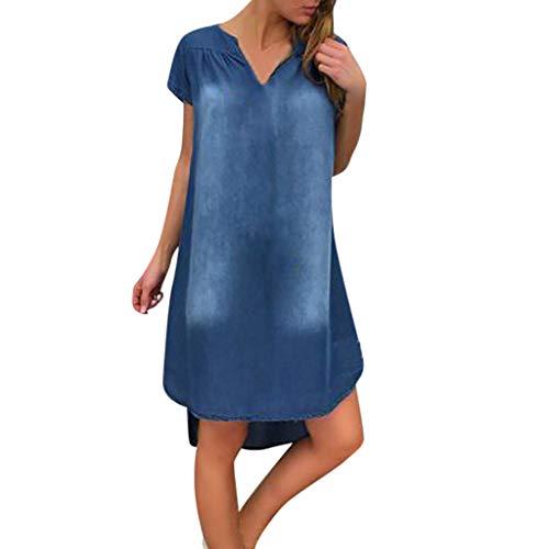 Damen Kleid, Dasongff Sommer Jeanskleid Hemdkleid V-Ausschnitt Kurzarm Lose Minikleid Denim Jeans Kleider Vintage Schickes Freizeitkleid Sommerkleid -