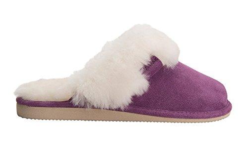 Femmes Luxe Peau De Mouton Pantoufles Chaussons Avec Double Chaud Laine Manchette