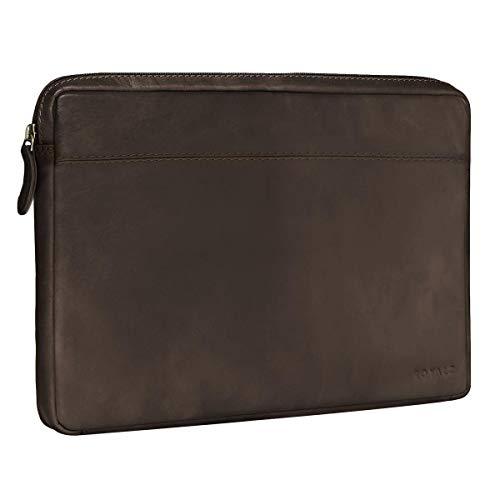 Deluxe Leder-notebook (ROYALZ Vintage Schutztasche für Asus Zenbook 3 Deluxe Tasche Leder (UX490UA) (14 Zoll) Lederhülle Cover Ledertasche Hülle Schutzhülle Sleeve Etui Mappe Retro Leder, Farbe:Dunkelbraun Matt)