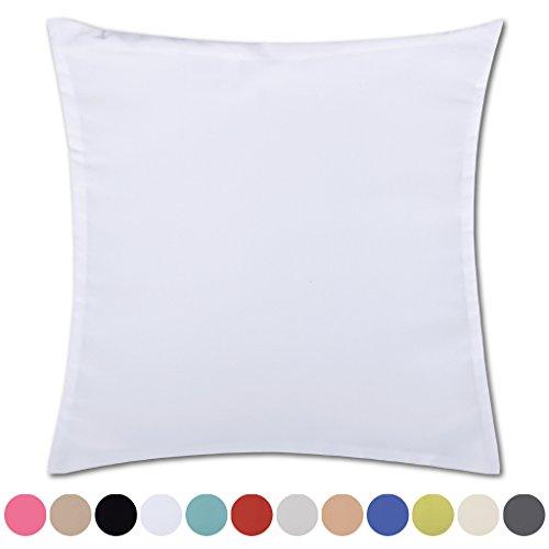 Kissenhülle Microsatin in Trendfarben Satinoptik mit Reißverschluß Auswahl: weiß - perlweiß ca. 60cm x 60cm (Schwarze Mikrofaser-sofa-bett)