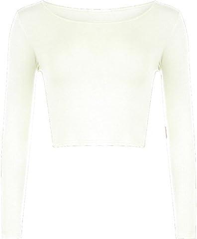 New Womens Crop Long Sleeve Cropped Crop Top T Shirt Ladies Short Plain Round Neck Top 8 - 14 (M/L (UK 12 - 14), CREAM)