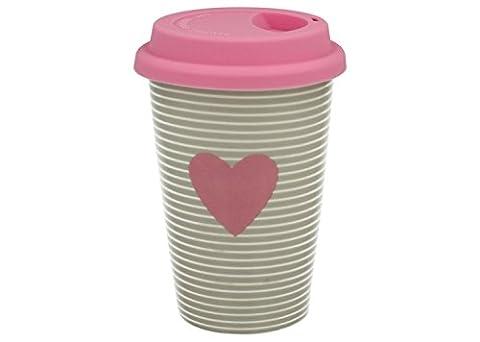 Kaffeebecher Coffee to go aus Porzellan mit Silikondeckel 'Pink Heart' 380 ml von DUO