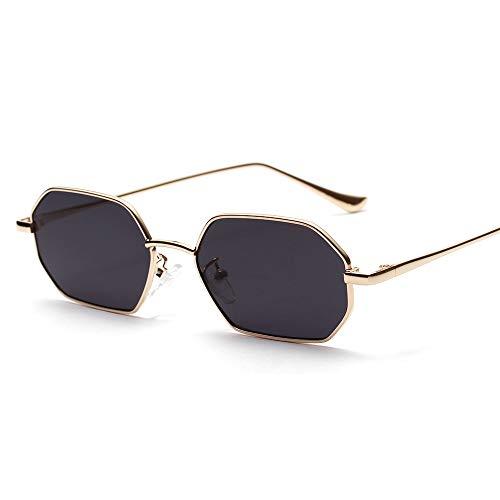 WJFDSGYG Kleine Rechteck Sonnenbrille Männer Metallrahmen Polygon Frauen Rote Linse Sonnenbrille Männer Gold Unisex Uv400