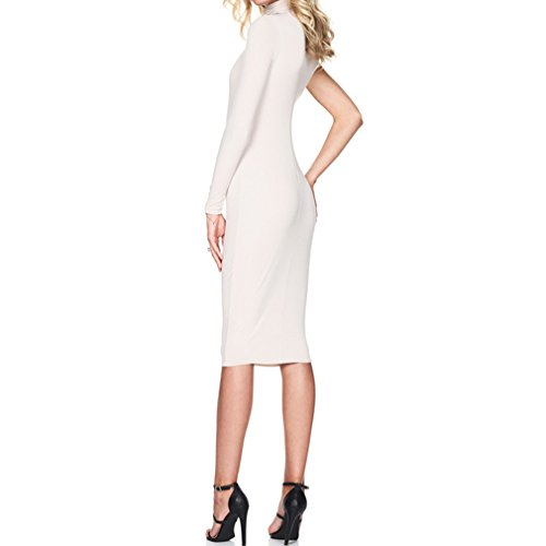 Honghu Damen Schlank Langarm One-Shoulder Knielang Wickelkleid Weiß