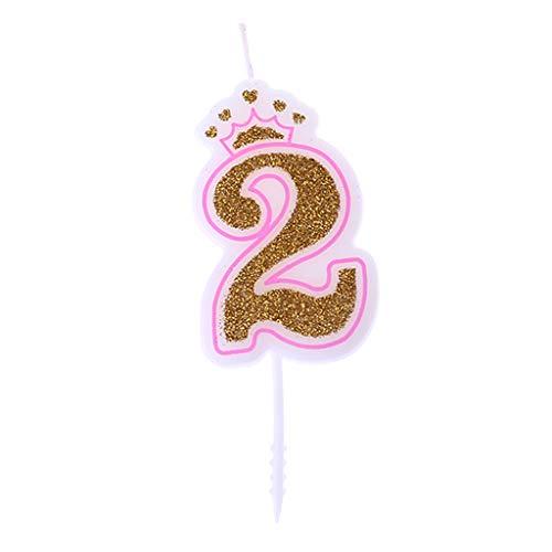 Chiic Vela - Corona de purpurina para tartas de cumpleaños con números 0 a 9, ideal como accesorio de cumpleaños PK 2