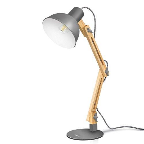 Lámpara de escritorio,columpio del brazo,lámpara de mesa ajustable y desmontable de madera para oficina, sala, estudio y dormitorio, gris- Tomons