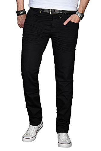 A. Salvarini Designer Herren Jeans Hose Basic Stretch Jeanshose Regular Slim [AS028 - Schwarz - W32 L34] -