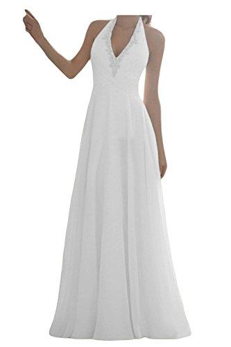 JAEDEN Damen Neckholder Chiffon Brautkleider Lang A-Linie Hochzeitskleid Wei? EUR46