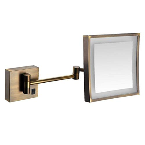 HUYYA Kosmetikspiegel Kompaktspiegel mit licht, Make-Up Spiegel 3 x Fache Vergrößerung Schminkspiegel Square für Badezimmer, Spa und Hotel Powered by Plug,Bronze_8inch