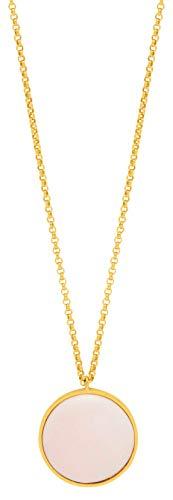 Louise Kragh Lange Damen Halskette Gold mit Rundem Anhänger Porzellan Halbkugel Rosa der Serie Fall verstellbare Länge 80-90 cm 925 Silber Vergoldet - NFAL0101-071811