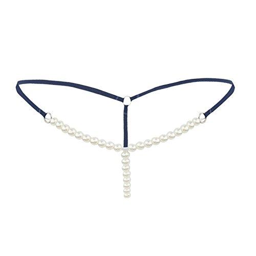 CHICTRY Damen Slip String Tanga Perlenstring Micro String Dessous Höschen Unterhose mit Ketten Blau One Size